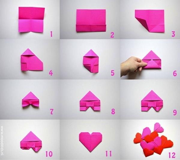 Corazones de origami para San Valentín paso a paso
