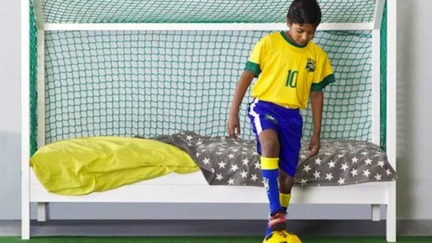 cama infantil futbol porteria