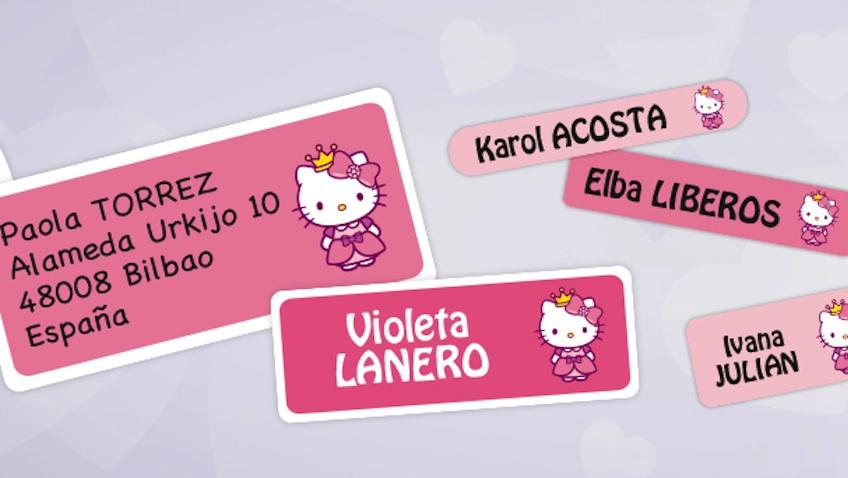 etiquetas personalizadas hello kitty ropa