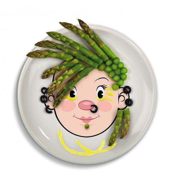 platos infantiles divertidos esparragos guisantes