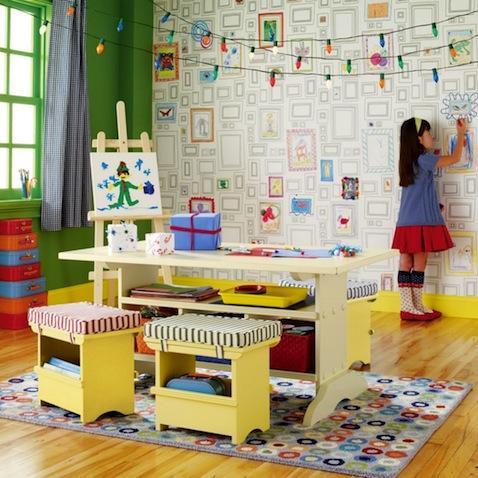 Papel para paredes infantiles con cuadros para pintar