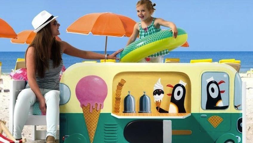 cama infantil pinguinos playa