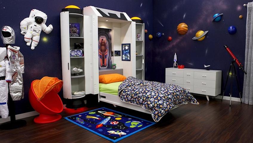 decoracion habitacion cama infantil nave espacial