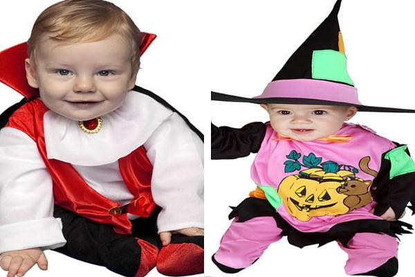 Disfraz barato para bebé vampiro y brujita