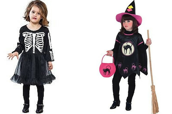 Disfraz Halloween barato para niña esqueleto y Disfraz de Bruja
