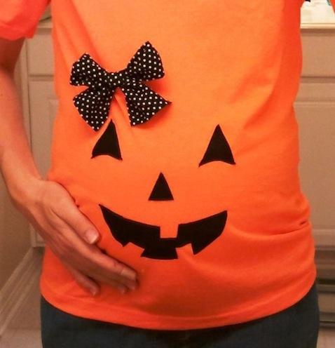 Disfraces embarazadas para Halloween DIY de calabaza
