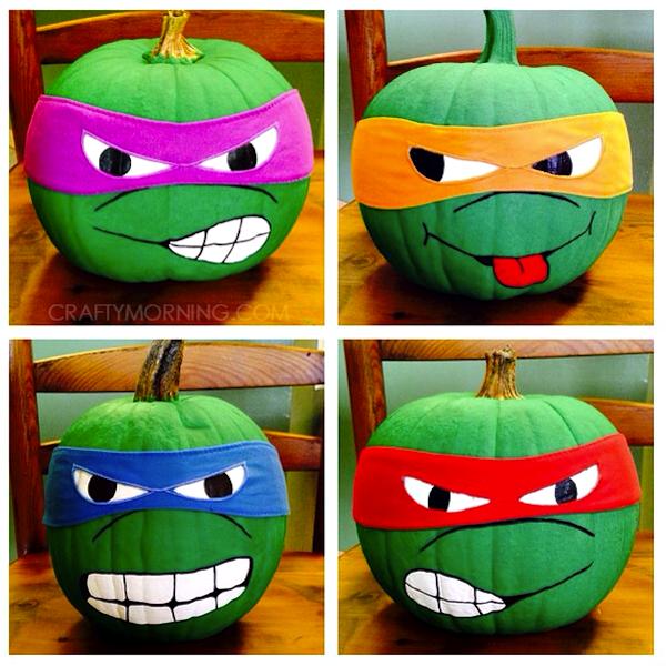 Calabazas decoradas de las Tortugas Ninja