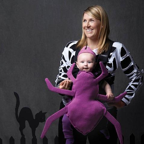 Disfraz halloween bebé y mamá de araña morada
