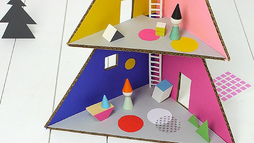 casa de muñecas de carton navidad