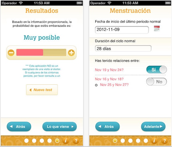 Test embarazo app para iPhone y Android