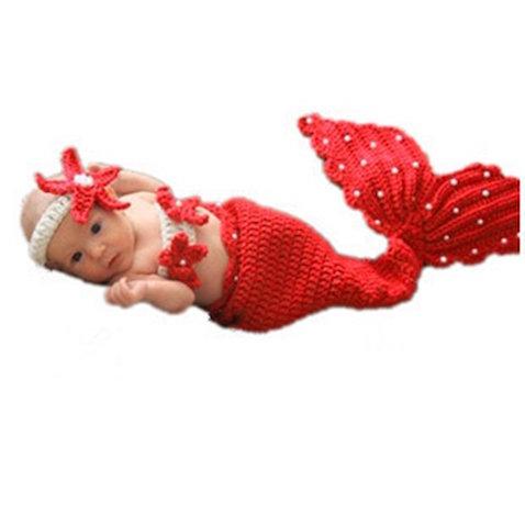 Disfraz sirena bebé rojo