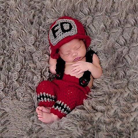 Disfraz bombero para bebés crochet