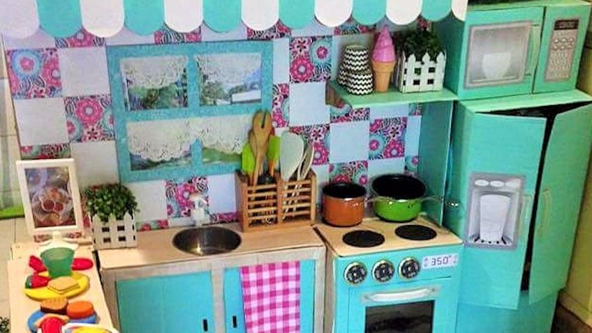 cocina infantil juguete carton