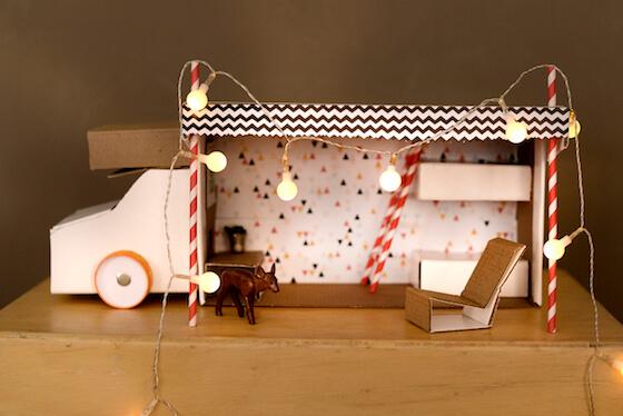 autocaravana juguete hecha con caja de zapatos