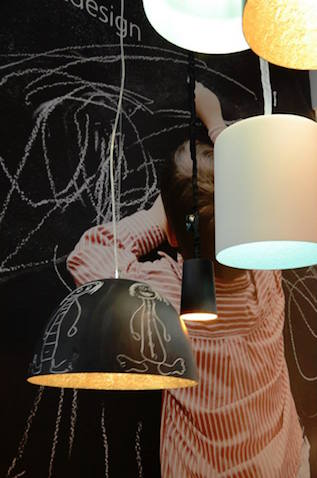 lámpara infantil original con acabo de pizarra