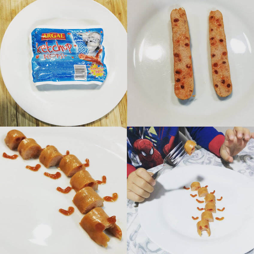 salchichas con ketchup plops de argal