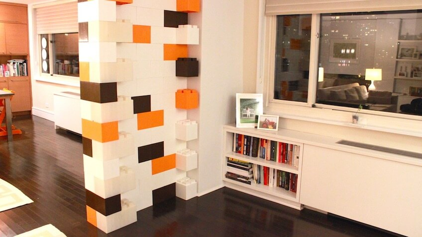 construir con lego pared