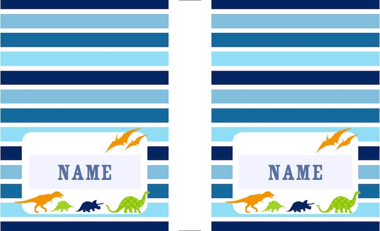 Etiquetas personalizadas para imprimir gratis rayas azules