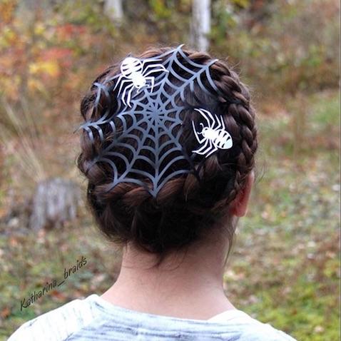 Peinado de telaraña de Halloween