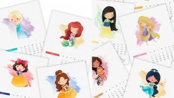 Calendario de las Princesas Disney para imprimir a tus peques
