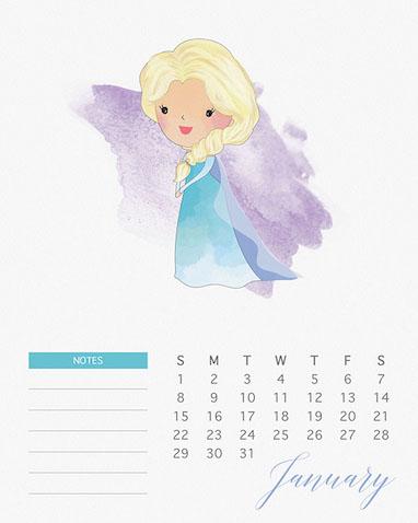 Mes de enero del Calendario de las Princesas Disney