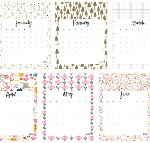 Calendario 2017 para imprimir Jessica Keala