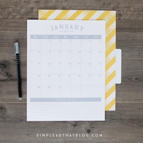Calendario del 2017 para imprimir gris y blanco