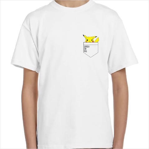 Camisetas infantiles de Pickachu con la frase PokemonCatch em all