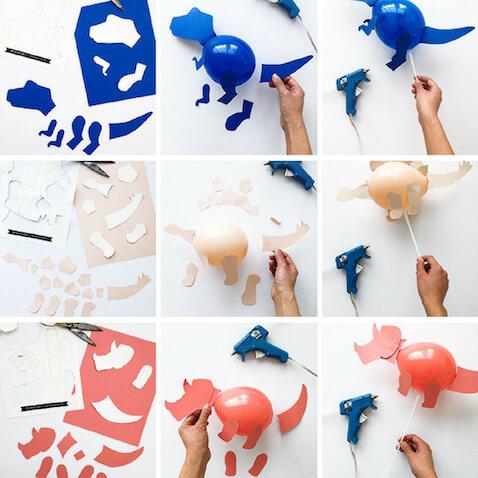 como hacer globos dinosaurios caseros pasos