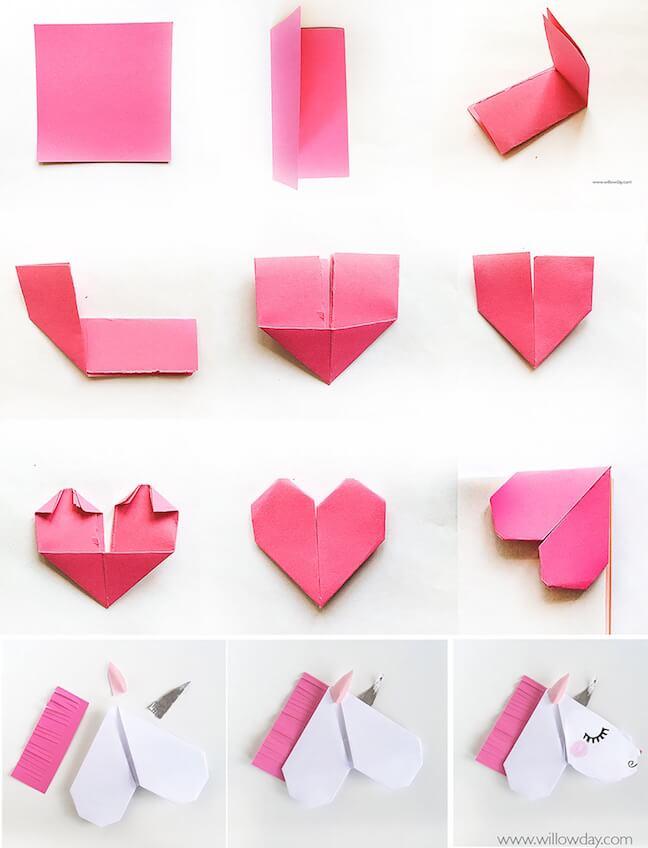 Tutorial paso a paso tarjeta de unicornio para San Valentín