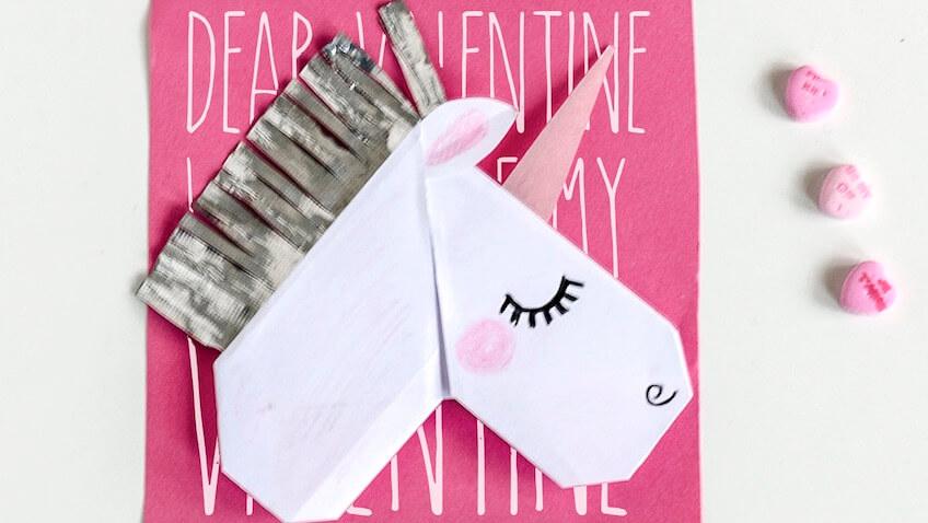 tarjeta de unicornio para San Valentín