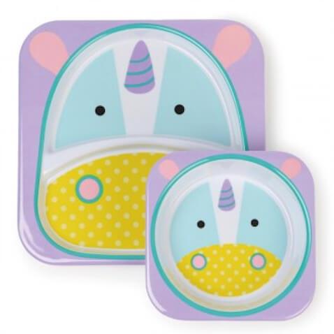 Vajilla para bebés con plato y bol Skiphop Unicornio
