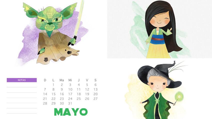 calendarios de mayo para niñ@s para imprimir gratis