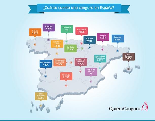 Cuánto cuesta una canguro en España, por comunidades autónomas