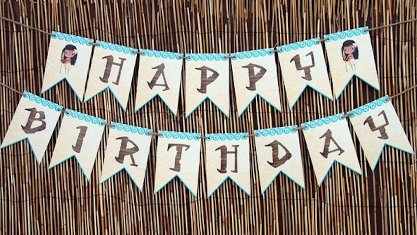 fiesta de cumpleaños de vaiana guirnalda para imprimir