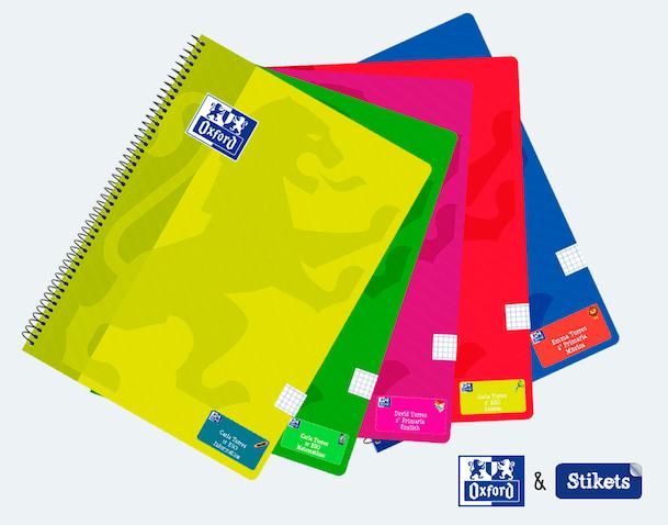 Cuadernos Oxford con etiquetas Stikets personalizadas