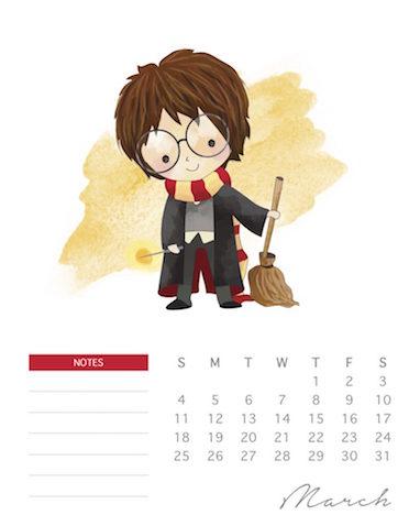 Calendario infantil Harry Potter del 2018 para imprimir gratis