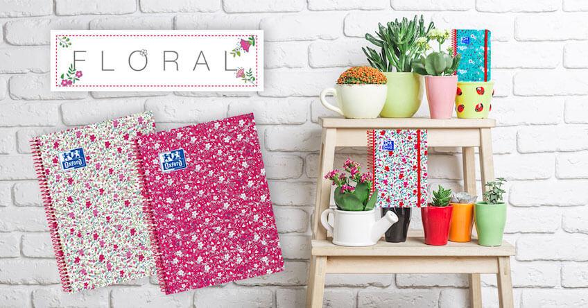 Gama floral de cuadernos Oxford para el nuevo curso escolar