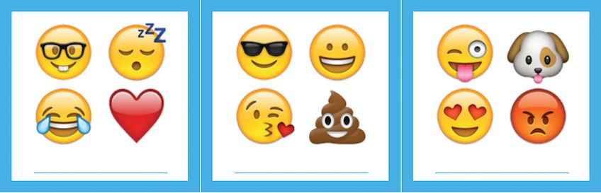 Tarjetas para imprimir gratis de Emojis para una fiesta de cumpleaños DIY
