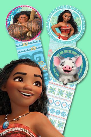 Marcapáginas para imprimir gratis con los personajes de la película Vaiana de Disney