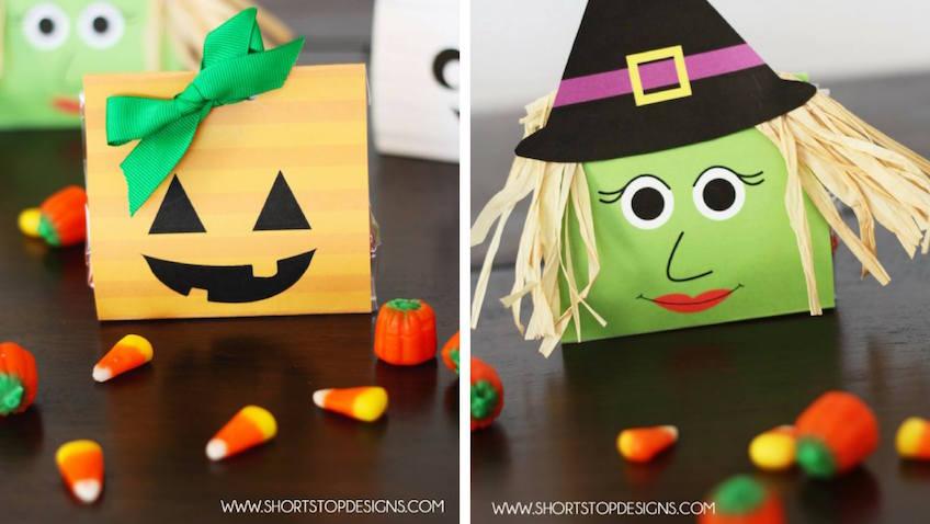 Bolsa de chuches de Calabaza y Bruja para Halloween gratis