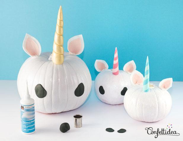Decorar calabazas de unicornios Crear cuerno y ojos con plastilina