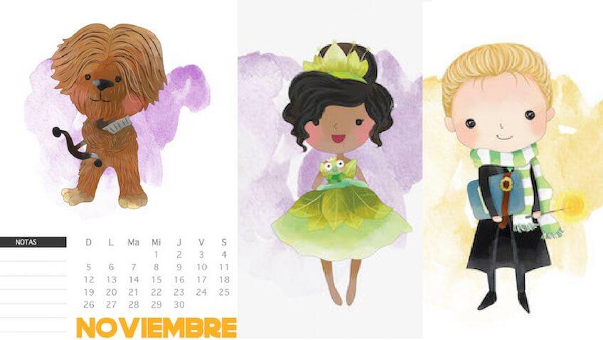 3 calendarios de noviembre para imprimir