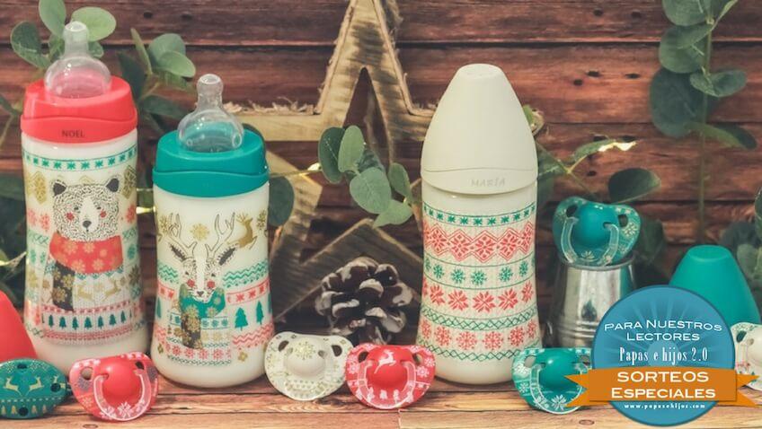 Sorteo de Navidad con Suavinex biberones y chupetes para bebés decorados con motivos de navidad