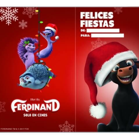 Tarjeta de Navidad de Ferdinand para imprimir gratis a los niños