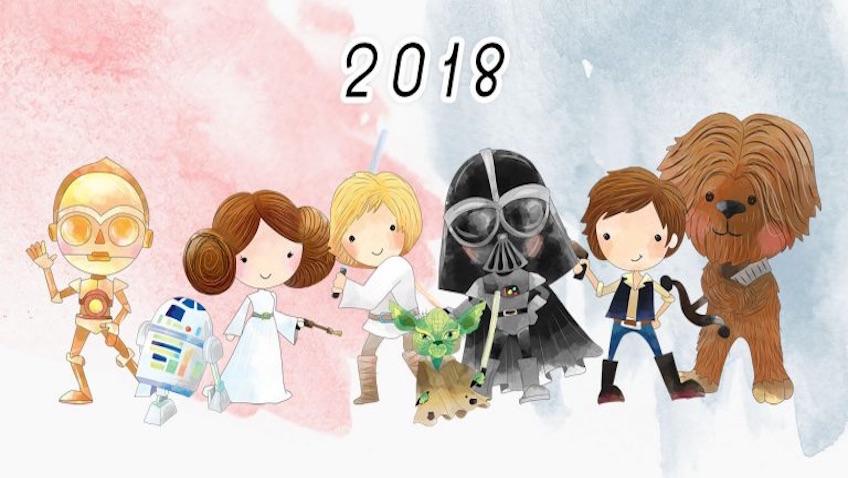 calendario la trilogía original de star wars para el 2018 para imprimir gratis