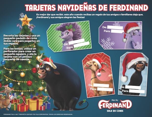 Tarjetas de Navidad para regalos de Ferdinand para imprimir gratis