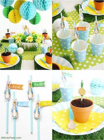 Decoración para fiesta cumpleaños de Peter Rabbit mesa con vasos