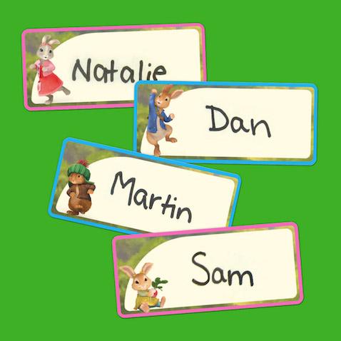 Etiquetas con los personajes de Peter Rabbit para imprimir