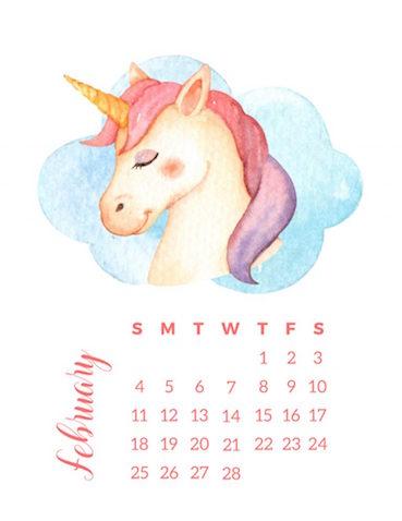Calendario de unicornios infantil para imprimir gratis